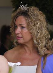 bride, face, hairstyle, ringlet, layered hair, head, hair, long hair, brown hair, blond,