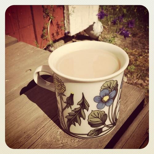 En kopp te på trappen till mammas och pappas hus i Öregrund