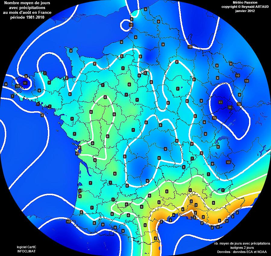 nombre moyen de jours avec pluie ou précipitations au mois d'août en France Reynald ARTAUD météopassion