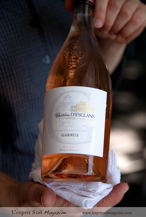 Garrus rosé, from the nearby winery Le Chateau d'Esclans