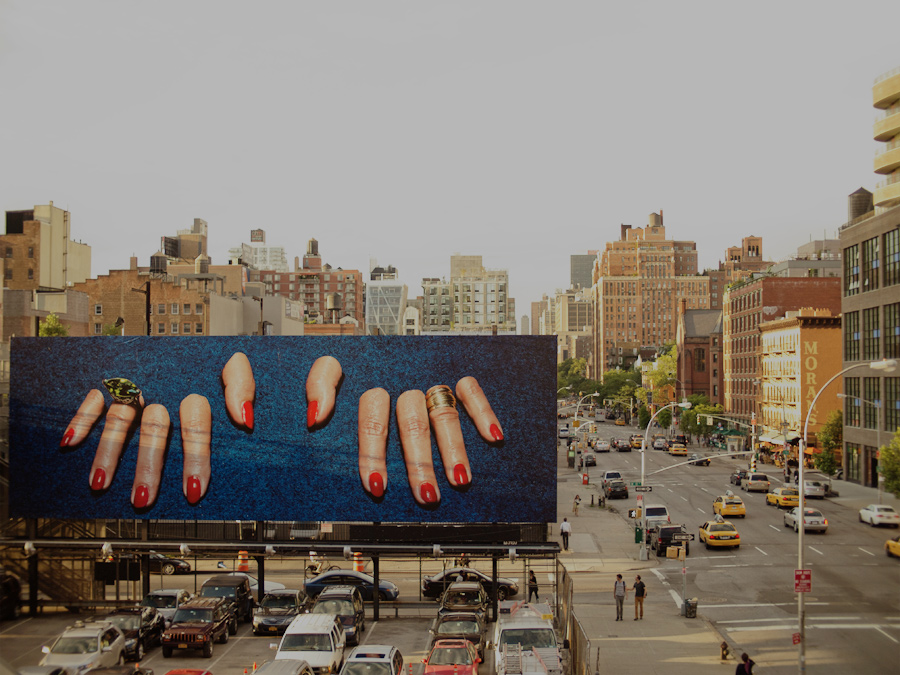 Maurizio Cattelan billboard from The Highline
