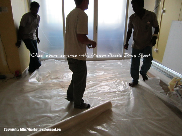 the photograph below shows our glass sliding doors being covered with plastic drop cloth