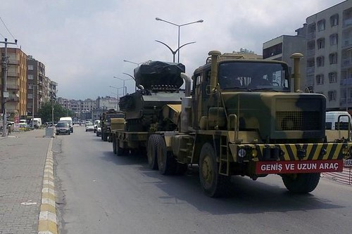 Turkish convoys heading towards the Syrian border with tanks and other military equipment. Turkey, a member of NATO, has been accused of arming rebels fighting the government in Damascus. by Pan-African News Wire File Photos