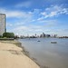 Beach and tower, Isle of Dogs