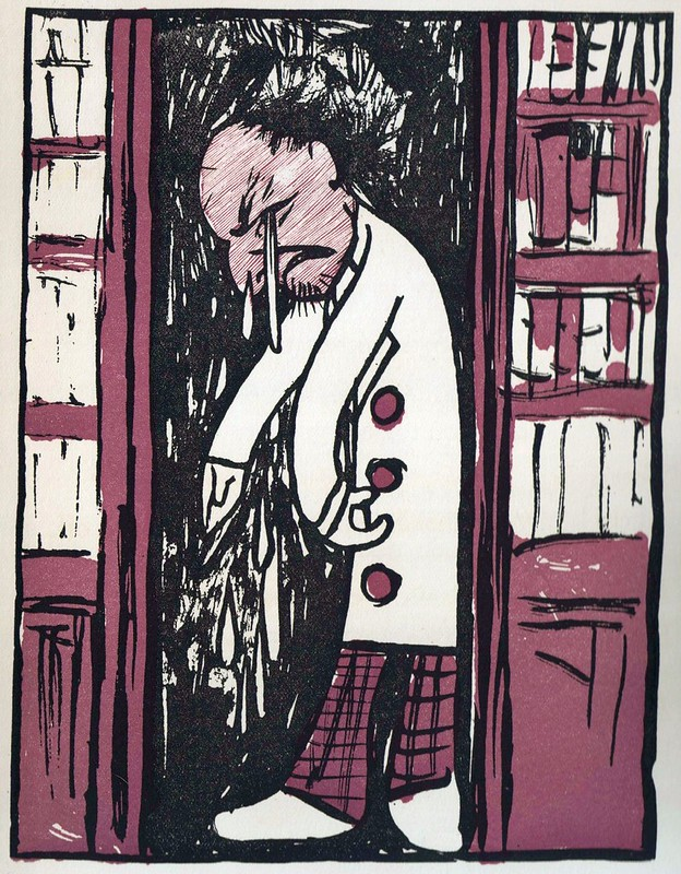 bitonal lithographic caricature of crying bookseller