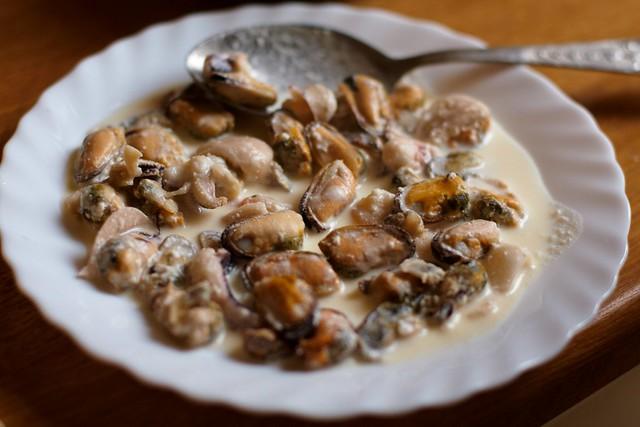 Мидии в сметанном соусе рецепты