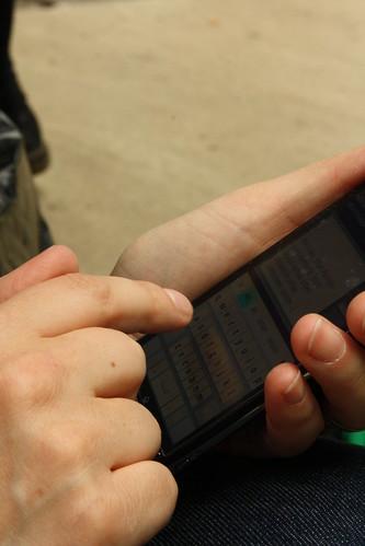 Image d'un caresse-phone en train d'être chatouillé