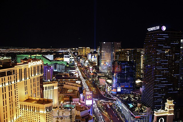 The strip looking South from the top of the Eiffel Tower , Las Vegas
