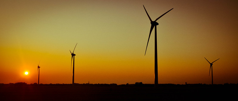 Kincardine Windfarm at sunset