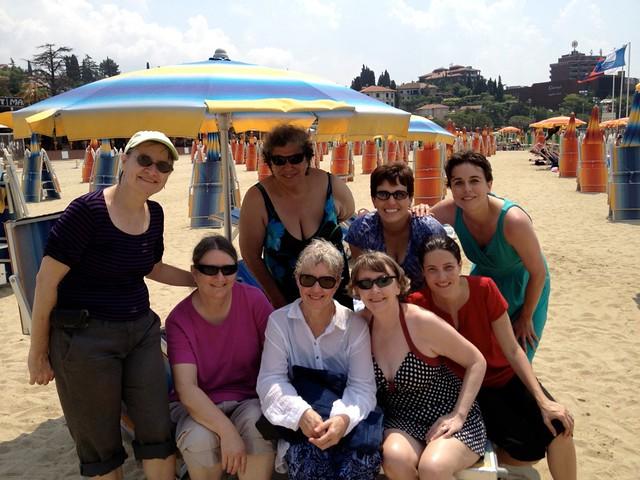 Choir members enjoying themselves on the beach at Portorož