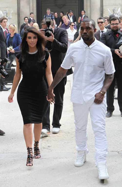 Paris Fashion Week: Kanye West and Kim Kardashian at the Valention Fashion show