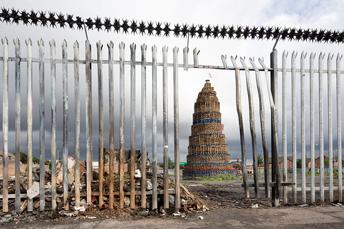 Massive Bonfire Through Fence