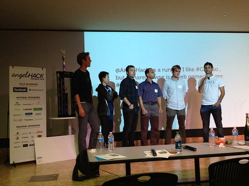 Announcing winners at AngelHack