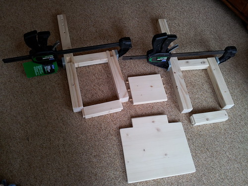 All pieces cut out and now gluing and clamping chair
