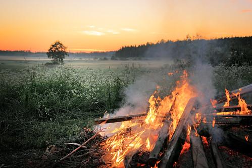 morning mist tree field fog sunrise canon suomi finland landscape fire midsummer sigma bonfire maisema juhannus kokko sumu pelto aamu auringonnousu 1750mm akaa