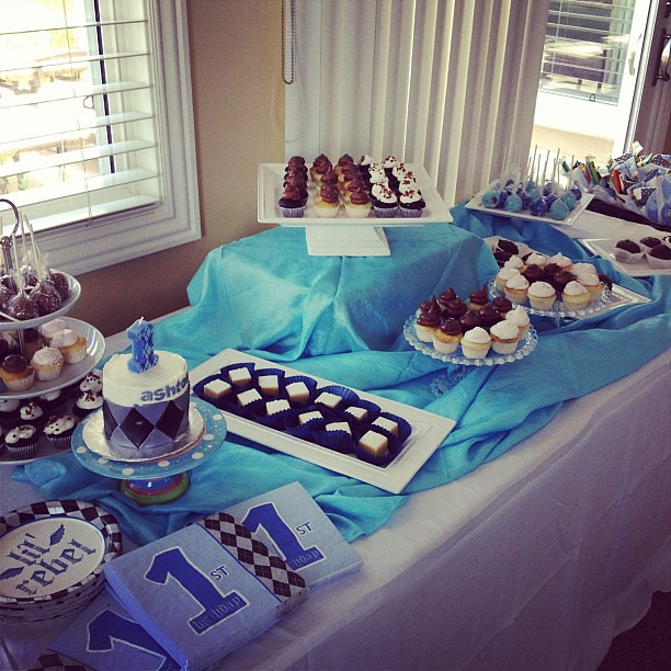 Dessert table for a first birthday lil rebel theme for Table 52 dessert