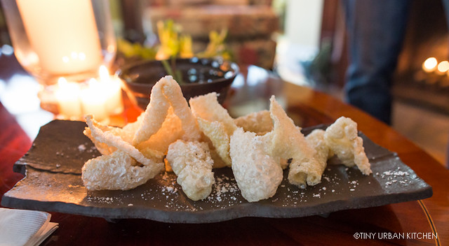 Pork Cracklings (Puffed Style) with Black Lime and Coconut Cream Powder