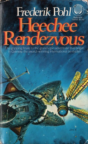 Heechee Rendezvous by Frederik Pohl. Del Rey 1984. Cover artist Darrell K. Sweet