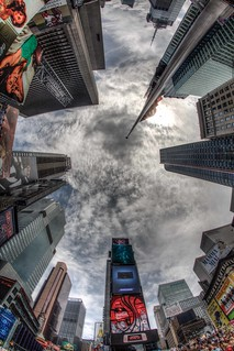 looking up in times square