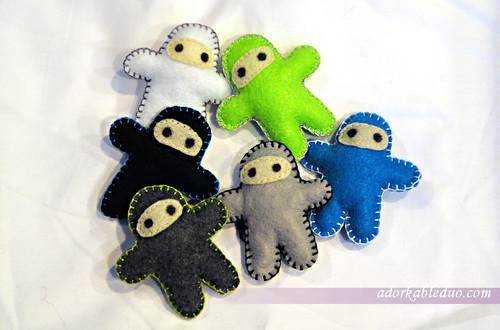 diy ninja plushies for hanging baby crib mobile - army of ninjas