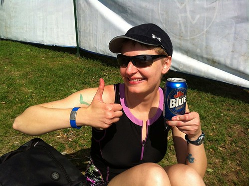 Erica and a post-race Labatt Blue