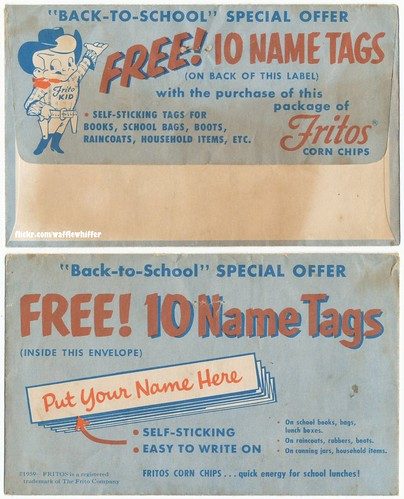 Fritos Name Tags - 1959 by Waffle Whiffer