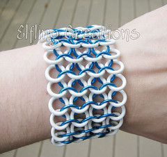 Blue and White Chainmaille Bracelet