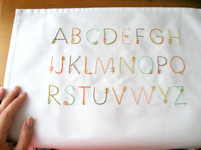 Feather stitch alphabet