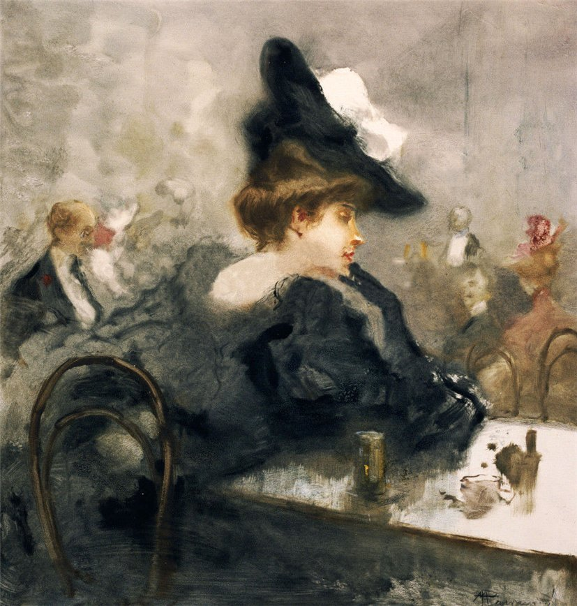 An Elegant Lady in Black in a Cafe by Pompeo Mariani
