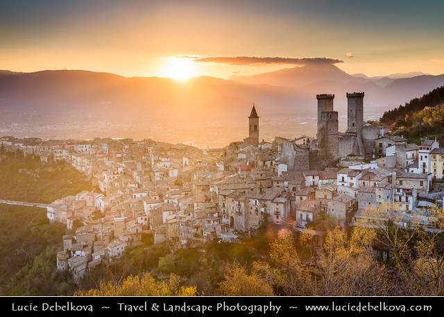 Italy - Abruzzo - Pacentro - Cantelmo Castle of Pacentro with remaining three of the four towers at Sunset