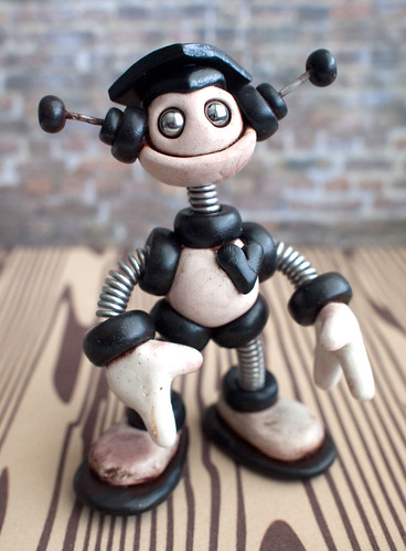 Graduation Grungy Bot Black Bart Mini Sculpture by HerArtSheLoves