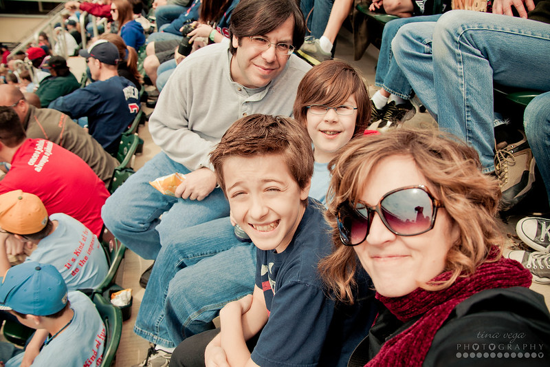 family selfie at twins game