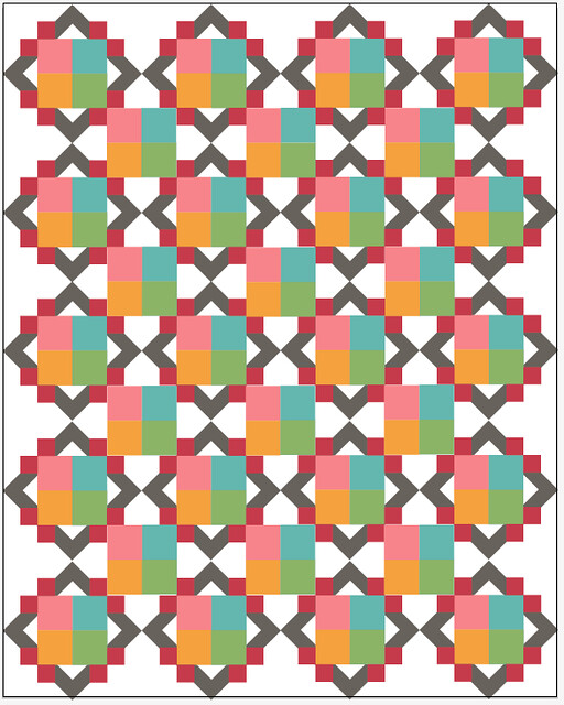 Cathedral Square quilt - with corner squares