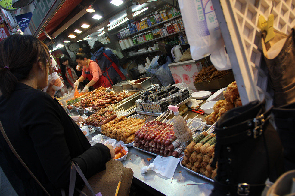 One of the more popular street food stalls in Myeongdong.