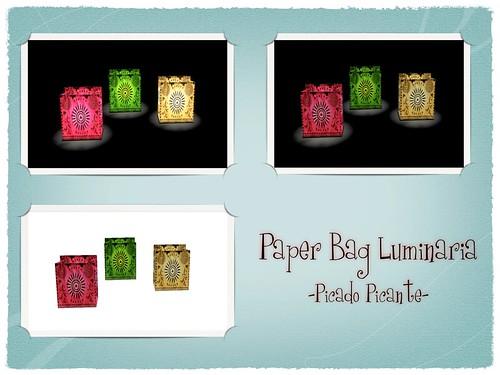 Zinnias- Paper Bag Luminaria: Picado Picante