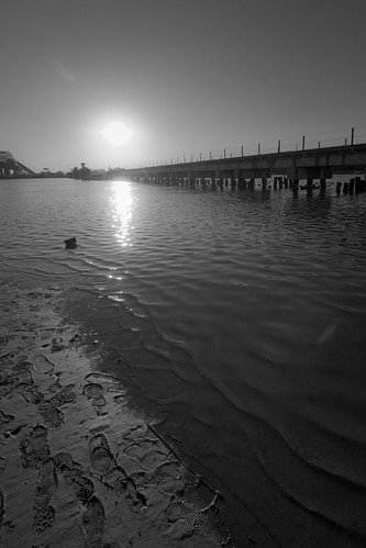 railroad sunset sky sun white lake black reflection water sunrise reflections scott photography photo louisiana waves photos footprints rail railway charles ripples footprint mohrman