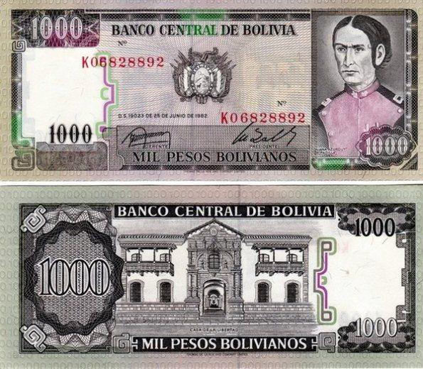 1000 Pesos Bolivianos Bolívia 1982, Pick 167