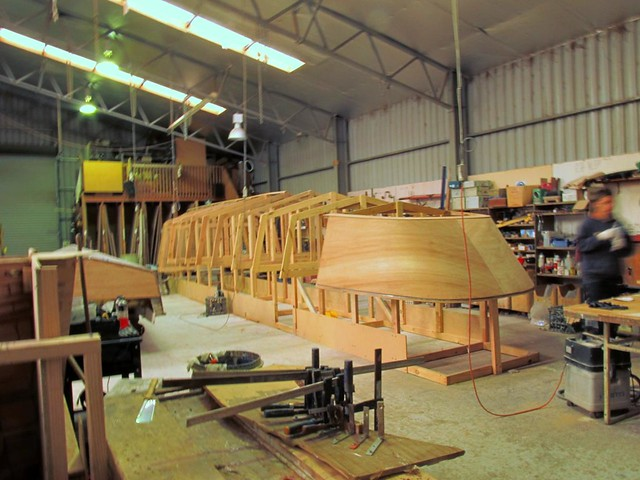 Large steam launch/houseboat in plywood.