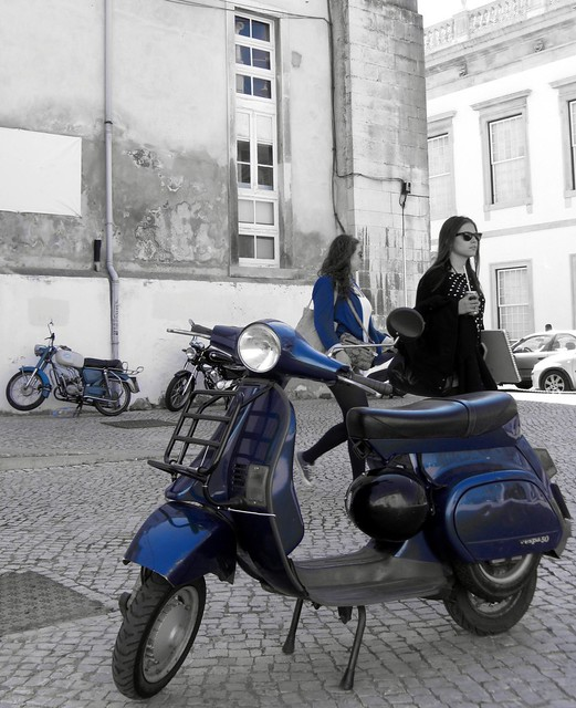 Classic blue Vespa scooter, Coimbra University, Portugal