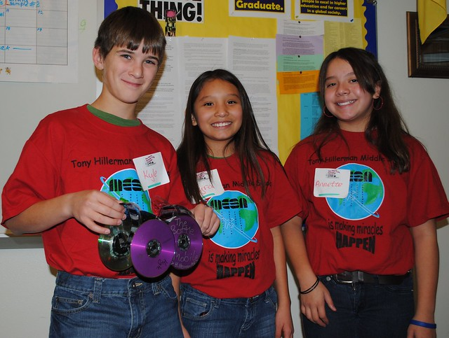 Students at Tony Hillerman Middle School in Albuquerque learn about alternative energy by building and racing fuel-cell powered cars in the Lab sponsored fuel-cell challenge.