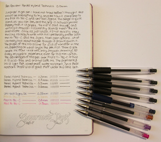 Pentel Hybrid Technica Writing Sample