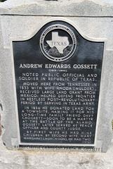 Photo of Andrew Edwards Gossett and Rhoda E. Mulder black plaque