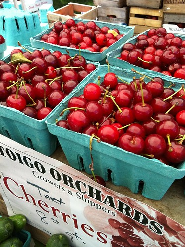 sour cherries at market