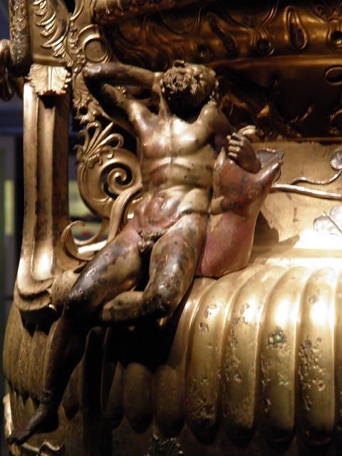 The Derveni krater, late 4th century B.C., a sleeping Satyre seating on the shoulder of the vase, Archaeological Museum, Thessaloniki, Greece