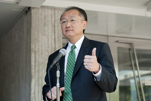 World Bank Group President Dr. Jim Yong Kim arrives for his first day at the World Bank