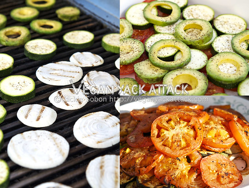 Image collage of grilled onion, avocado, and tomato