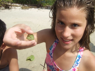 Bella with a tiny trunkfish.