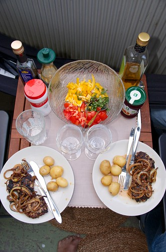 A traditional Swedish meal on Maria's balcony