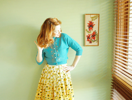 vintage blue cardigan yellow skirt d