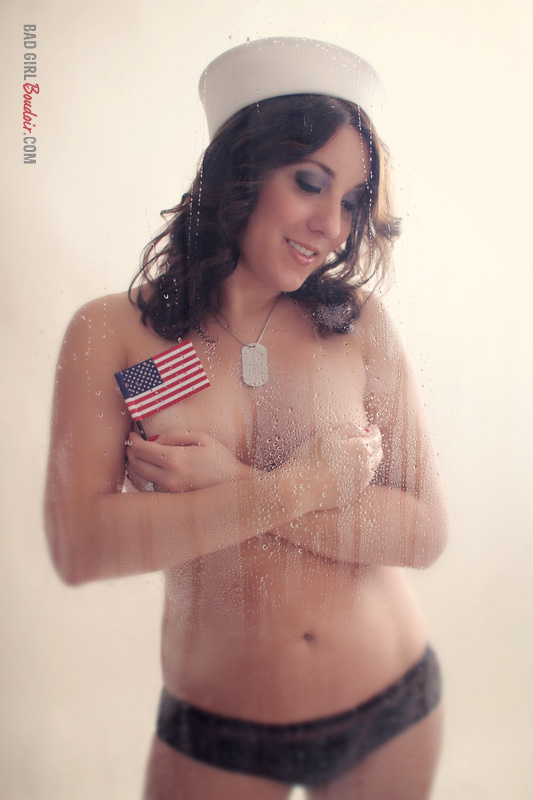 Sexy Navy American Flag Military Boudoir Photo